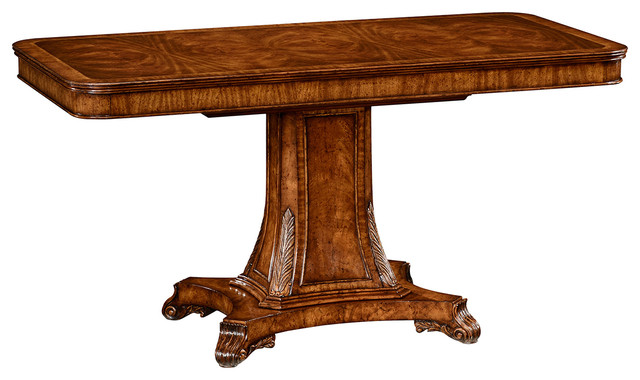 Jonathan charles regency rectangular centre table on for Traditional dining table bases
