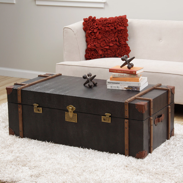 Journey Black Croc Embossed Leather Trunk Coffee Table Contemporary Coffee Tables By
