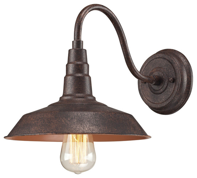 Small Rustic Wall Lights : Urban Lodge 1-Light Sconce, Weathered Bronze - Rustic - Wall Sconces - by ELK Group International