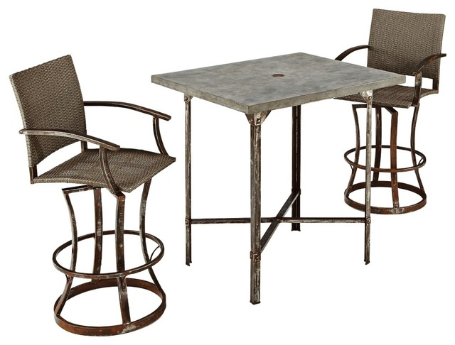 Rustic Lodge Urban Collection 3 Piece Outdoor High Dining Set Farmhouse