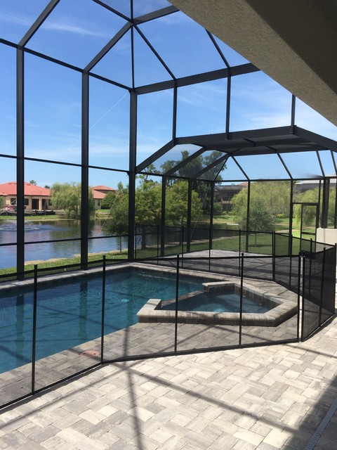 Removable pool safety fence cage attachment