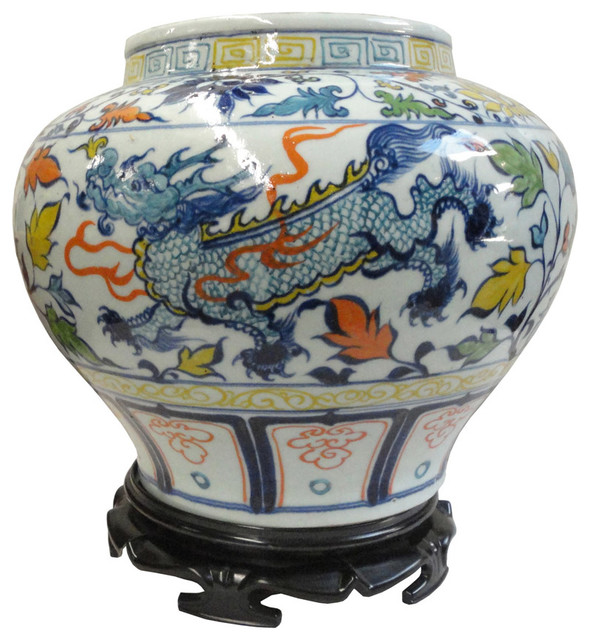 Chinese Porcelain Flower And Dragon Plant Pot Asian