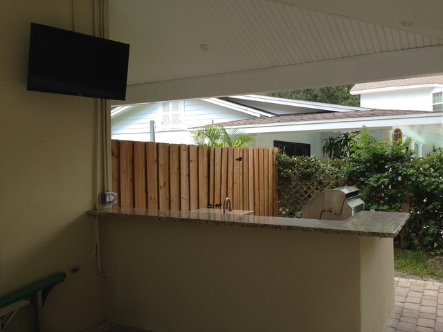 South Tampa Covered Lanai Outdoor Kitchen Transitional