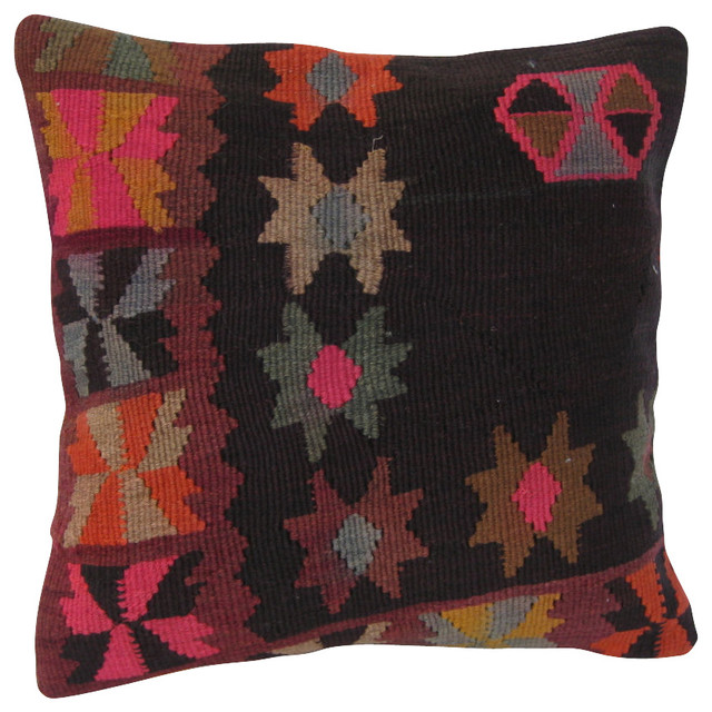 Southwestern Pillows And Throws : Floral Design Kilim Pillow Cover - Southwestern - Decorative Pillows