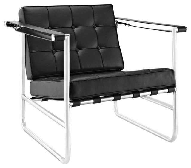 Contemporary Lounge Chair In Black Finish Modern Armchairs Accent C