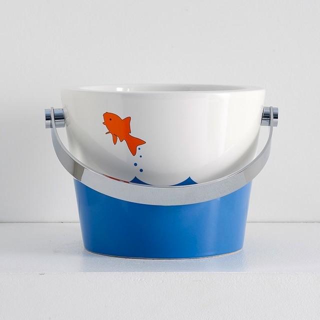 Bucket Vessel Sink : Bucket Bathroom Sink with Fish design 8801-R - Contemporary - Bathroom ...