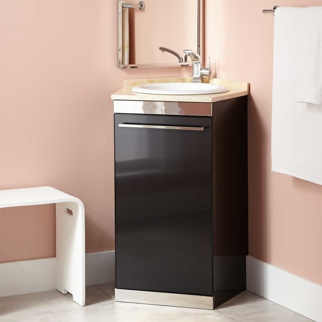 21 andres stainless steel corner vanity black modern bathroom vanities and sink consoles for Black corner bathroom cabinet