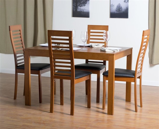 Westport Dining Table Set With Denver Dining Chairs In Cherry Contemporary Dining Sets By