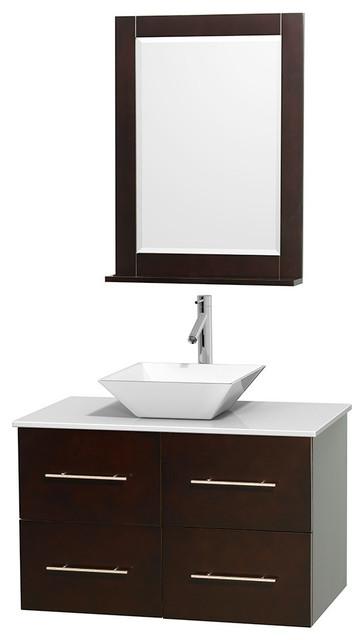 36 Single Bathroom Vanity Stone Countertop Sink And 24 Mirror Contemporary Bathroom