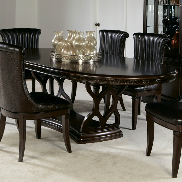 American Drew Bob Mackie Double Pedestal Oval Dining Table In Dark Brown Co
