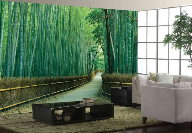 Bamboo forest mural for Bamboo wall mural wallpaper