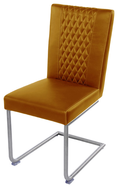 Vesper Chairs Brushed Stainless Steel Legs Cigar Set Of