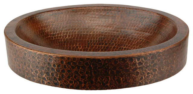 ... Compact Oval Skirted Vessel Hammered Copper Sink rustic-bathroom-sinks