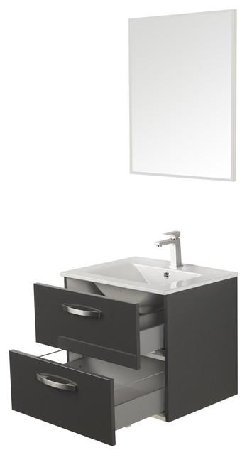 luxy meuble de salle de bains sous vasque 60cm gris. Black Bedroom Furniture Sets. Home Design Ideas