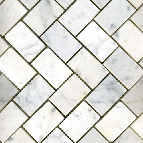 White Carrara Herringbone Honed Traditional Tile