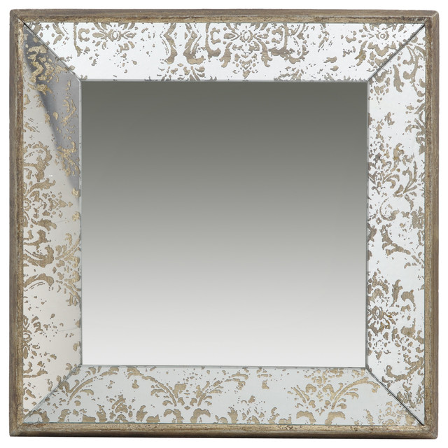 Antique look frameless wall mirror tray rustic wall for Looking for wall mirrors