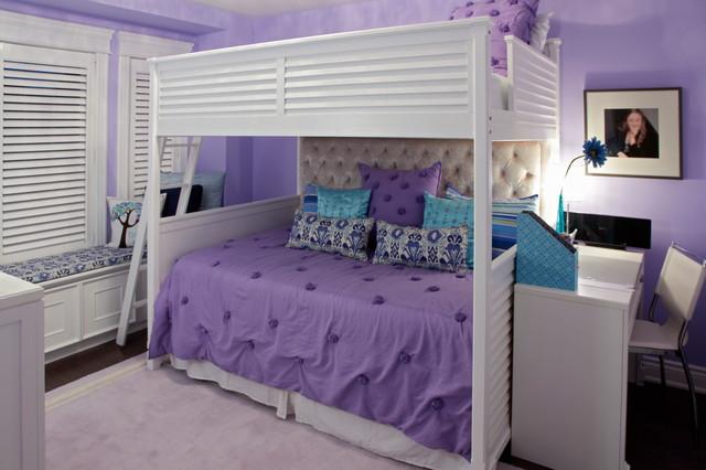 tween purple and teal bedroom with bunk bed
