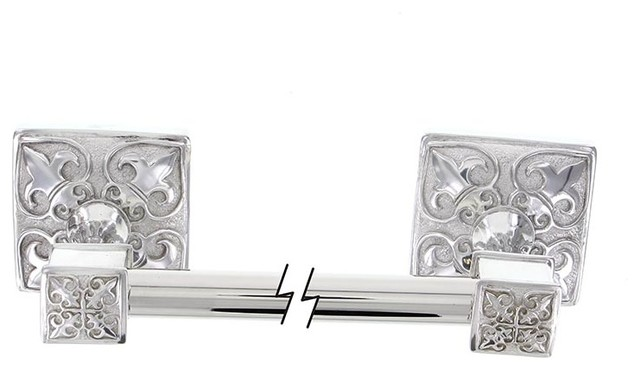 Fleur de lis towel bar 30 inch polished silver traditional towel bars by vicenza designs - Fleur de lis towel bar ...