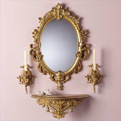 Mirror Shelf Amp Sconce Set At Home Traditional