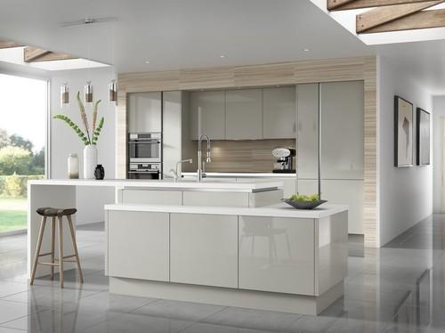 Conseils pour couleur de ma cuisine - Cuisine gris clair et blanc ...