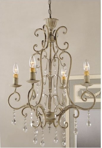 Shabby Vintage Metal Crystal Chandelier Traditional