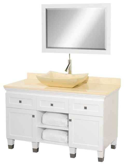 Eco friendly modern bathroom vanity with ivory marble sink - Eco friendly bathroom sinks ...