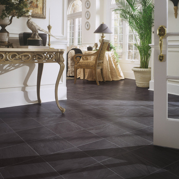 Black slate laminate floor traditional by dupont for Laminate floor coverings for kitchens