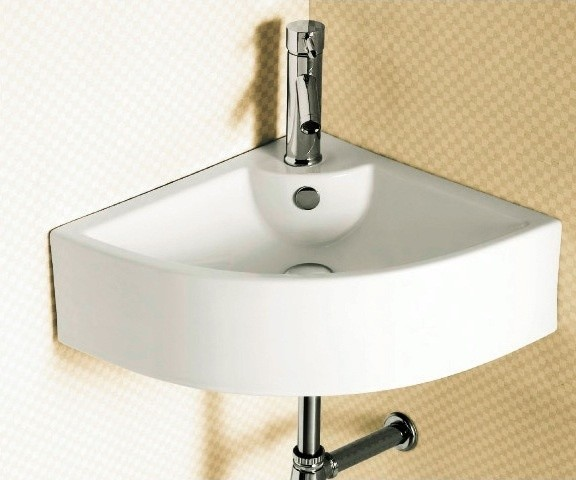 Corner White Ceramic Wall Mounted or Vessel Bathroom Sink