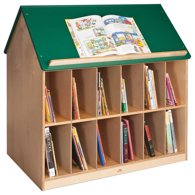Whitney Brothers Kids Reading Book Storage Organizer House With Green Roof - Contemporary - Kids ...
