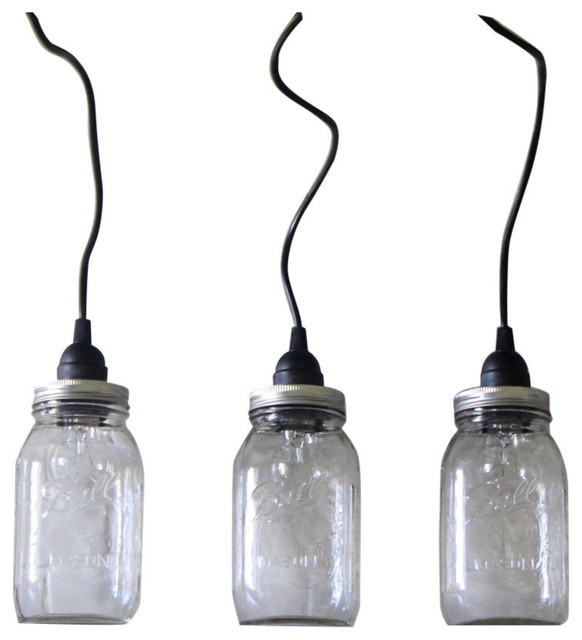 Hanging Mason Jar Pendant Lights Set Of 3 Black Cord Clear Hardwired Pe