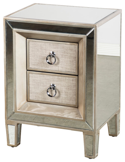 Cassidy mirrored nightstand contemporary nightstands for Cool nightstand clocks