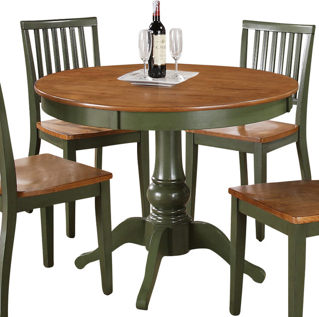 Steve silver candice round dining table in oak and green for Traditional dining table uk