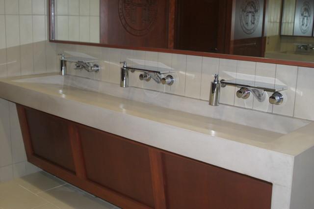 Vanity Side Splash : Custom concrete trough ramp sink and countertop