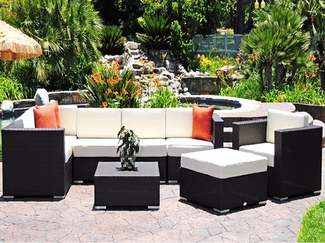 Luxury caluco dijon lounge cushion patio wicker set Most expensive outdoor furniture