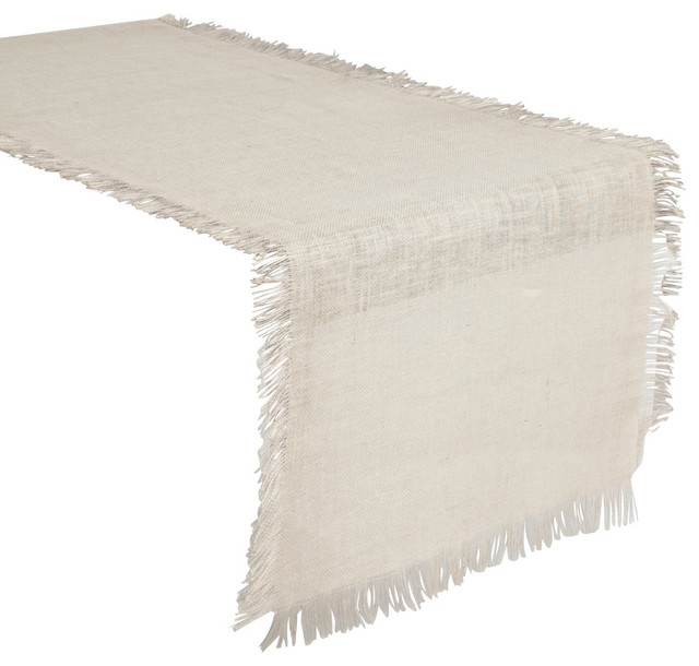 Fringed burlap tablecloth ivory 90x120 rustic for Table 90x120