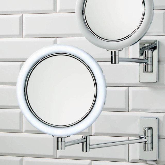 Wall Mounted Double Arm LED Lighted 7x Magnifying Mirror - Contemporary - Makeup Mirrors - by ...