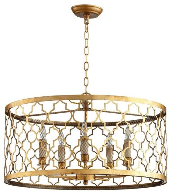 Mediterranean Style Lighting: Cyan Design Romeo Five Light Pendant, Gold Leaf