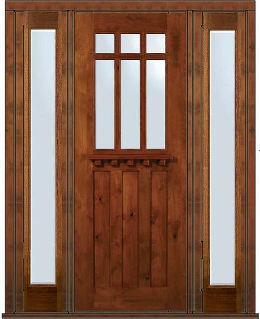 Prehung sidelites door 96 alder craftsman 3 panel 6 lite for 6 panel glass exterior door