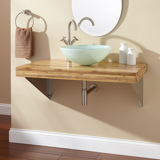 Wall-Mount Vessel Sink Vanity - Triangular Brackets modern-bathroom ...