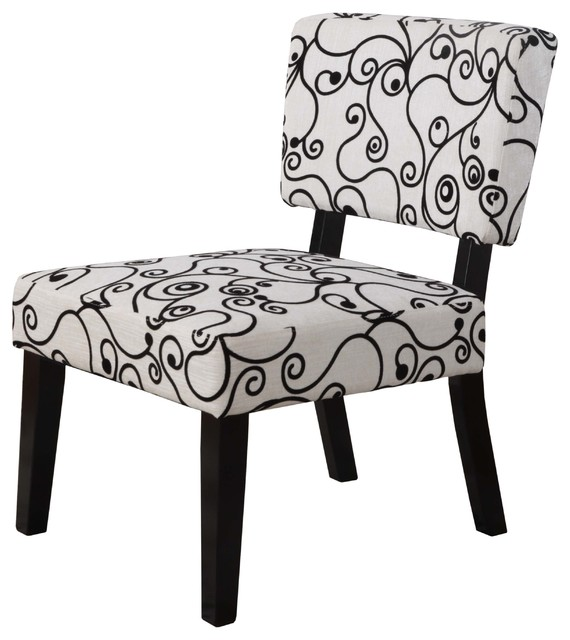 Taylor Accent Chair White Black Circles Contemporary