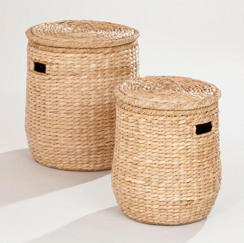 Soft Rush Lidded Rectangular Lined Storage Basket: Victoria Lidded Storage Basket