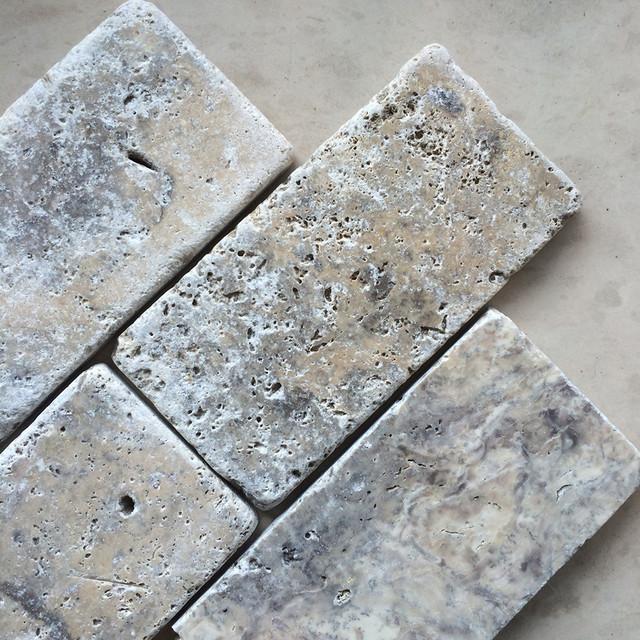 Silver Travertine Backsplash: Tumbled Silver Travertine 3x6 Subway Tile