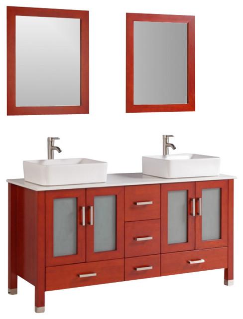 59 Inch Modern Double Sink Bathroom Vanity Contemporary Bathroom Vanities And Sink Consoles