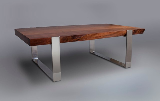 Live edge slab wood table with mirror polished stainless Wood and steel furniture