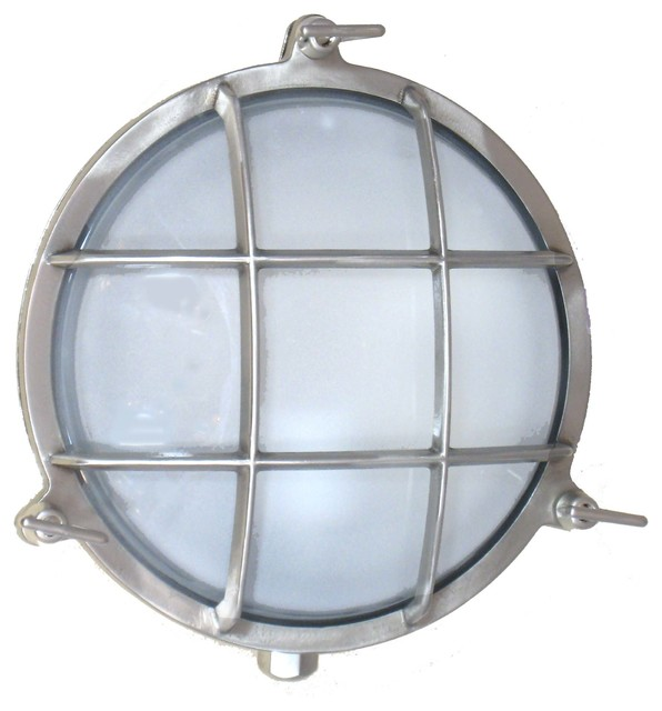 Round Cage Light (Solid Brass, Interior / Exterior by Shiplights) - Traditional - Outdoor Wall ...