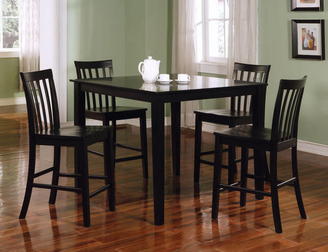 5 PC Black Wood Square Counter Height Dining Room Set