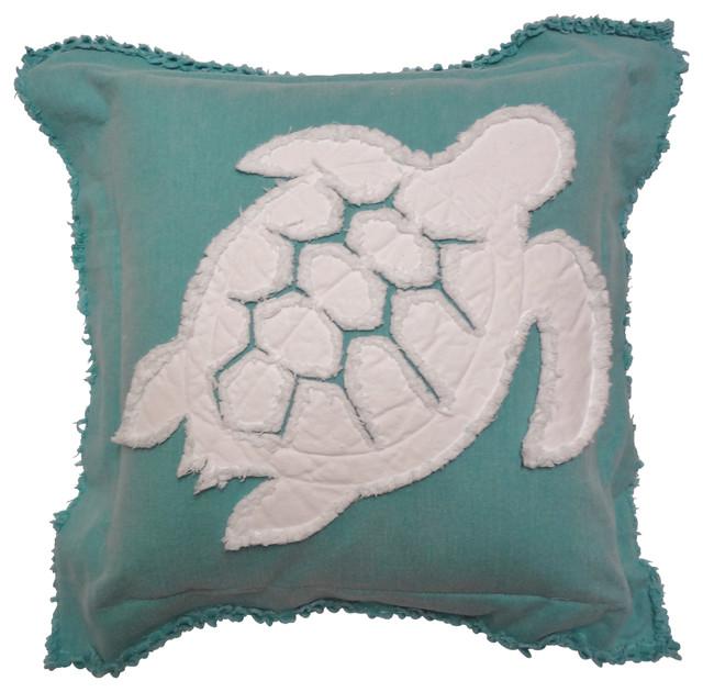 Coastal Inspired Throw Pillows : Coastal Turtle Throw Pillow, White on Caribbean Blue - Beach Style - Decorative Pillows - by ...