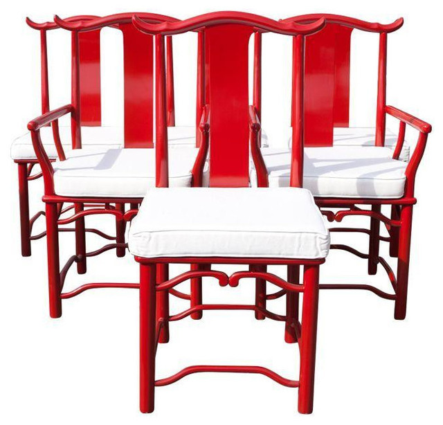 Red Asian Style Dining Chairs