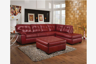 Acme Red Tufted Leather Sectional Sofa Couch Chaise Modern