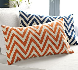 Chevron Embroidered Lumbar Pillow Cover Orange